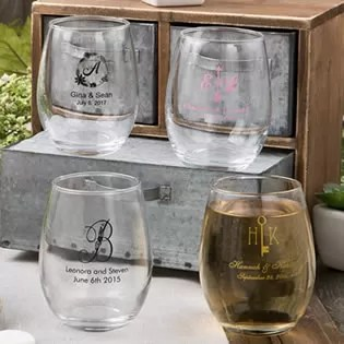Stemless Wine Glass Favors Personalized Favors