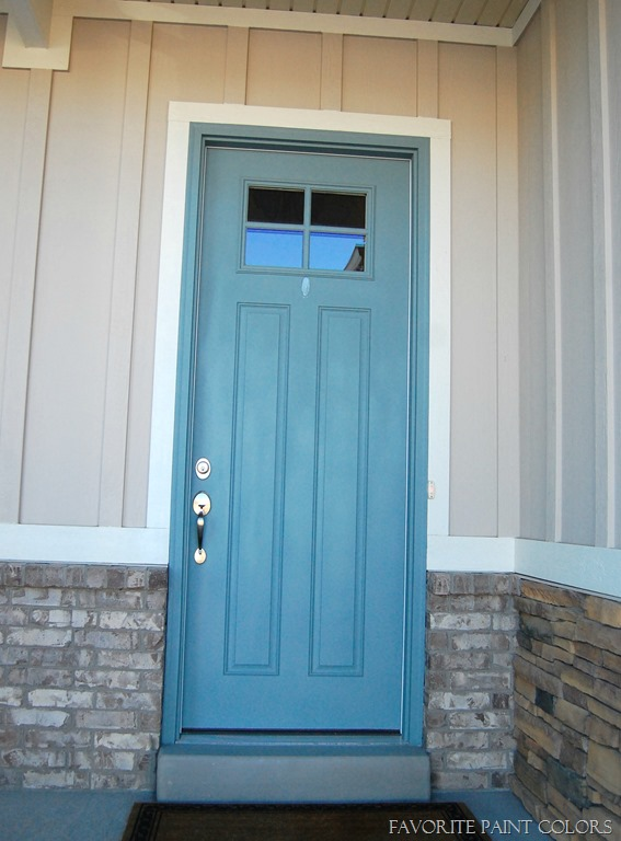 Exterior paint colors - blue door & Seaport High Hide White and Stone exterior paint colors ...
