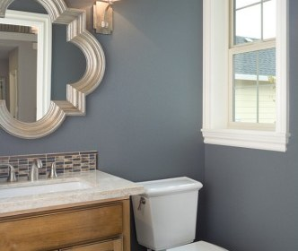 bathroom paint color with wood cabinets