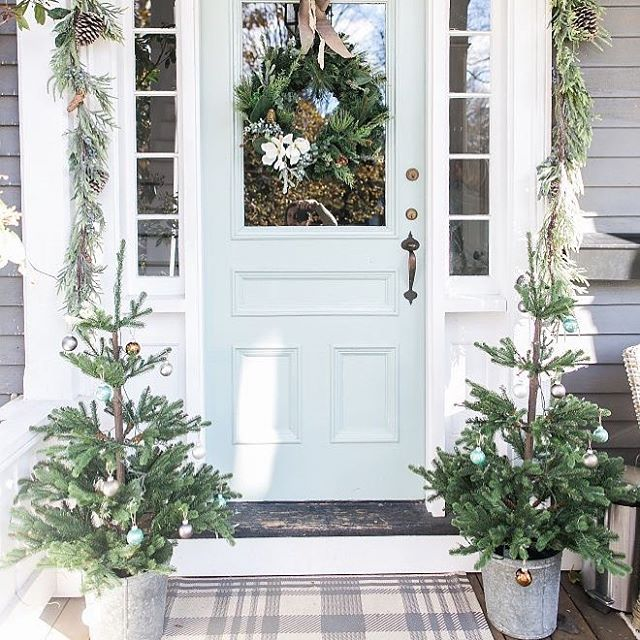 Christmas front porch and paint colors