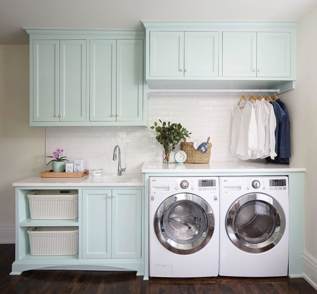 Waterscape cabinets in laundry room