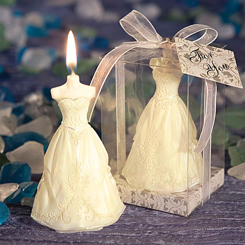 Elegant Wedding Gown Candle Favors
