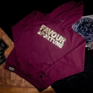 Burgundy/Gold Distressed Hoodie
