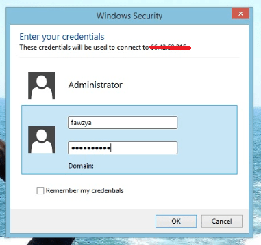 6. masukan username dan password yang telah dibuat Cara membuat User RDP di VPS Windows