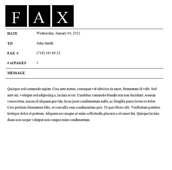 Fax Cover Sheet Template Fax Cover Sheet  All Form Templates