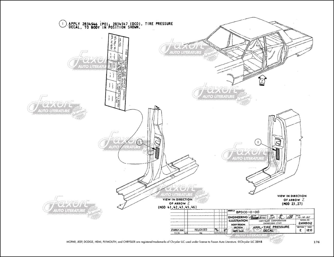 1966 Chrysler Body & Electrical Assembly Manual Reprint