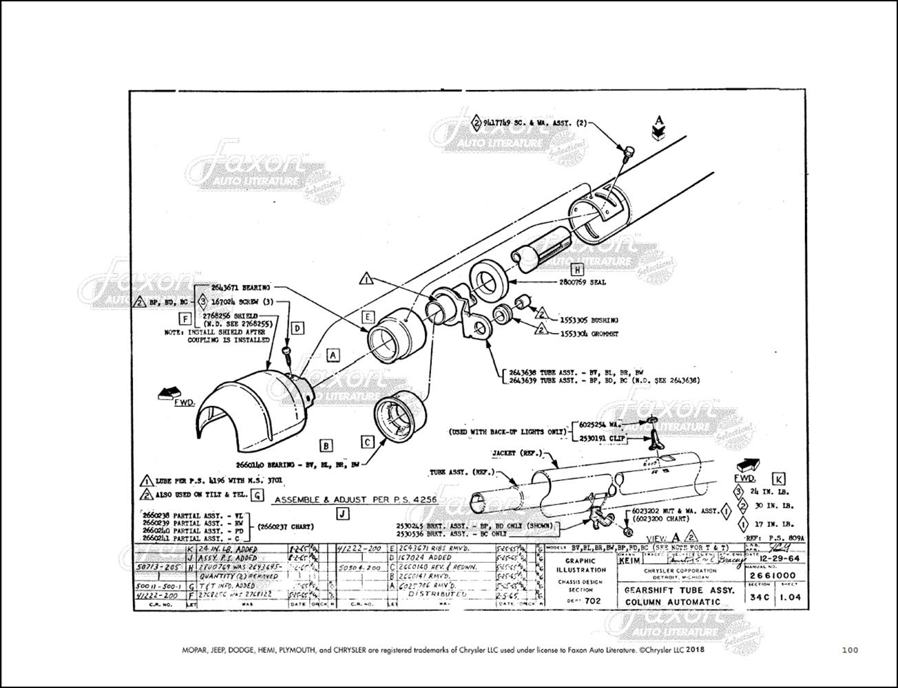 1966 Mopar C Chassis Assembly Manual Reprint Chrysler