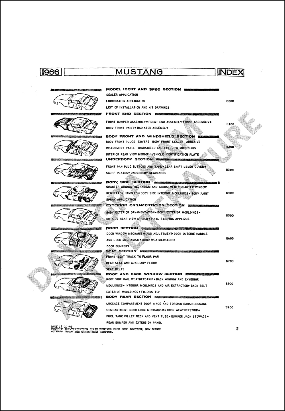 1966 Ford Mustang Assembly Manual Reprint set of 5 Books