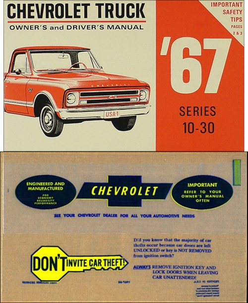 small resolution of 1967 chevrolet 1 ton truck owner s manual package