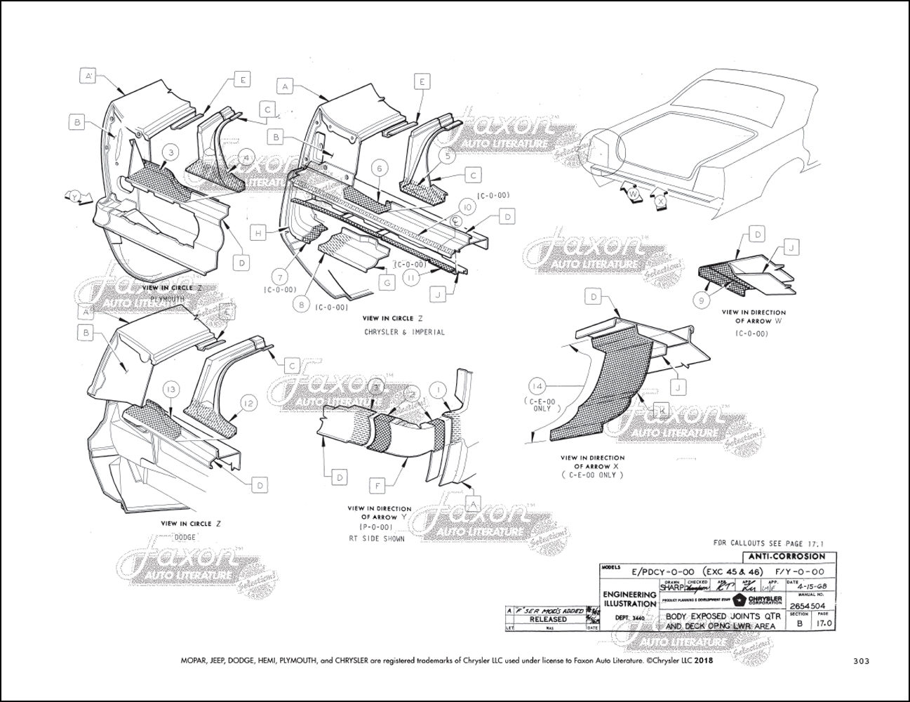 1969-1970 Chrysler, Plymouth, Dodge Big Car Body Assembly