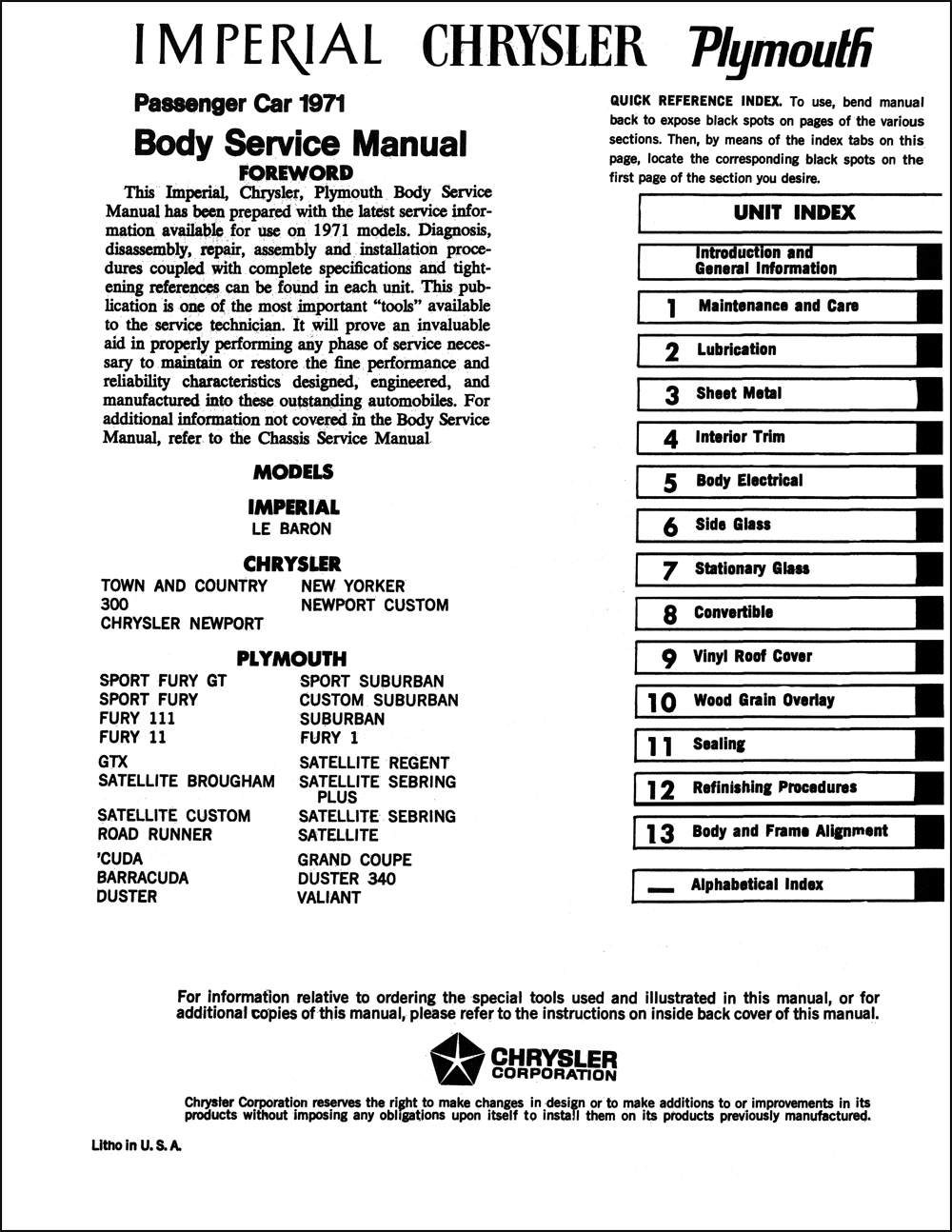 1971 Chrysler Plymouth Factory Service Manual 2 Volume Set