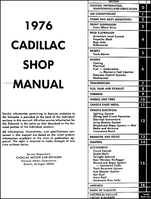 1976 Cadillac Repair Shop Manual and Body Manual on CD-ROM