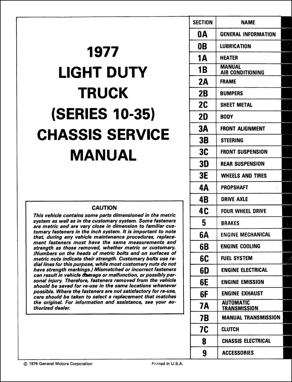 1977 Chevrolet Pickup, Blazer, Van, & Suburban Repair Shop