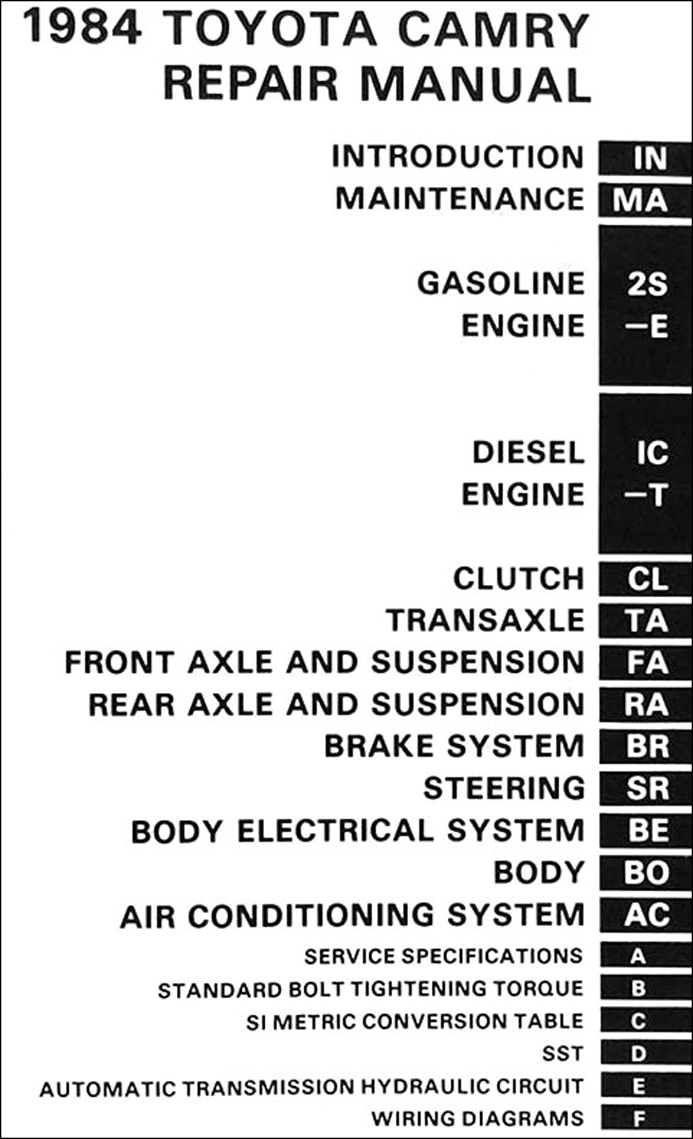 medium resolution of 1984 toyota camry repair manual original click on thumbnail to zoom