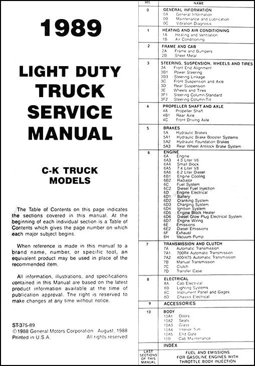 1989 Chevrolet C/K Pickup Truck Repair Shop Manual Reprint