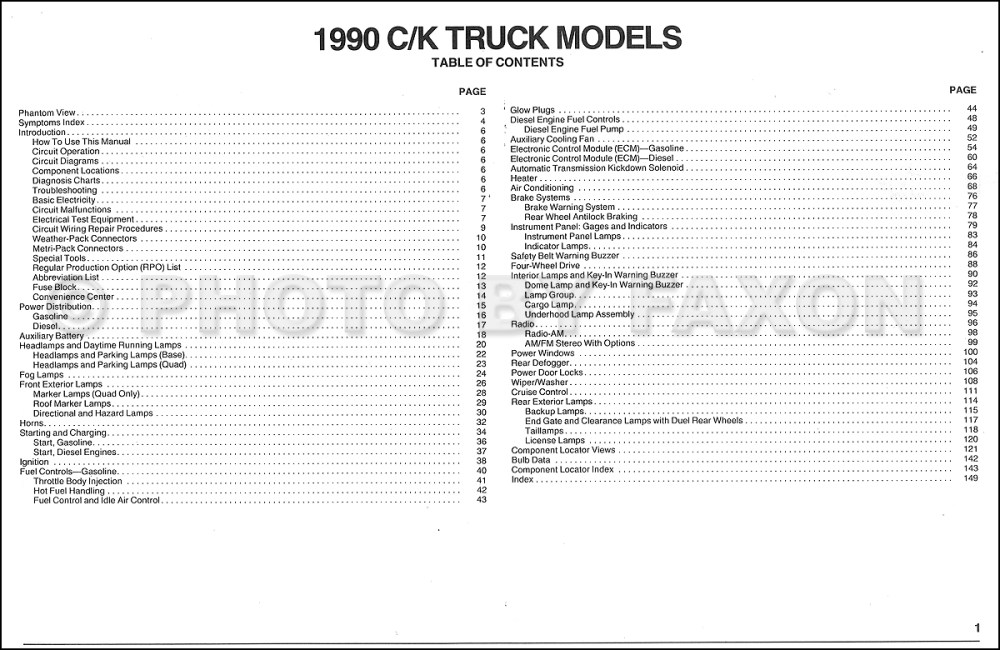 medium resolution of 1990 chevy c k pickup wiring diagram manual original