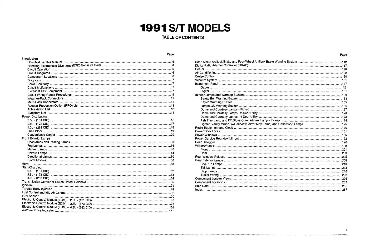 1991 GMC S15 Sonoma Pickup & Jimmy Wiring Diagram Manual