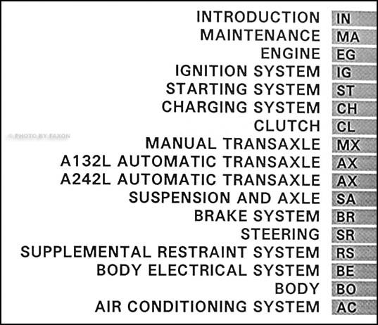1995 Toyota Tercel Repair Shop Manual Original