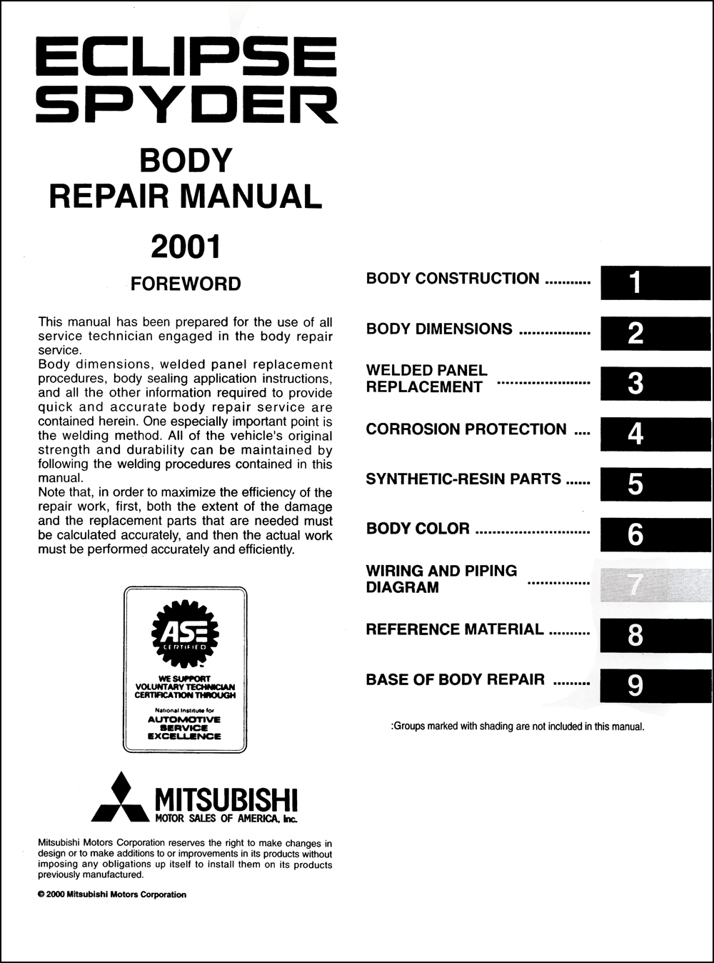 2001-2005 Mitsubishi Eclipse Spyder Body Repair Shop
