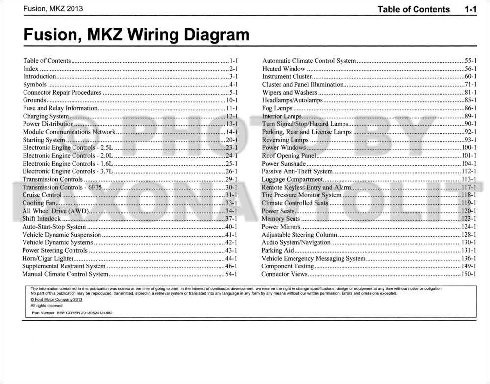 medium resolution of 2013 ford fusion lincoln mkz wiring diagram manual original gasoline