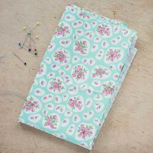 Vintage Rose Pistachio Green Cotton Poplin