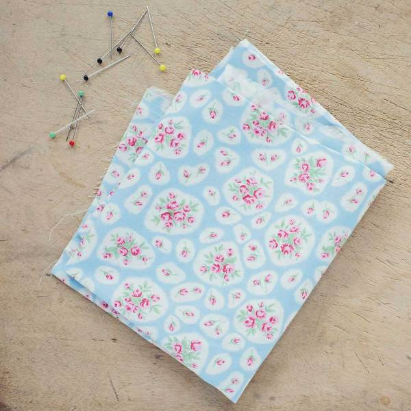 Vintage Rose on China Blue Cotton Poplin