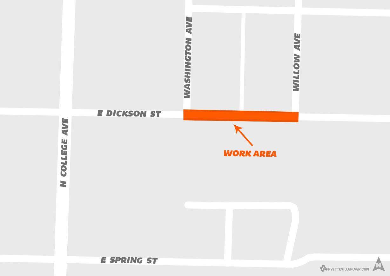 Sidewalk work to close East Dickson Street in Fayetteville