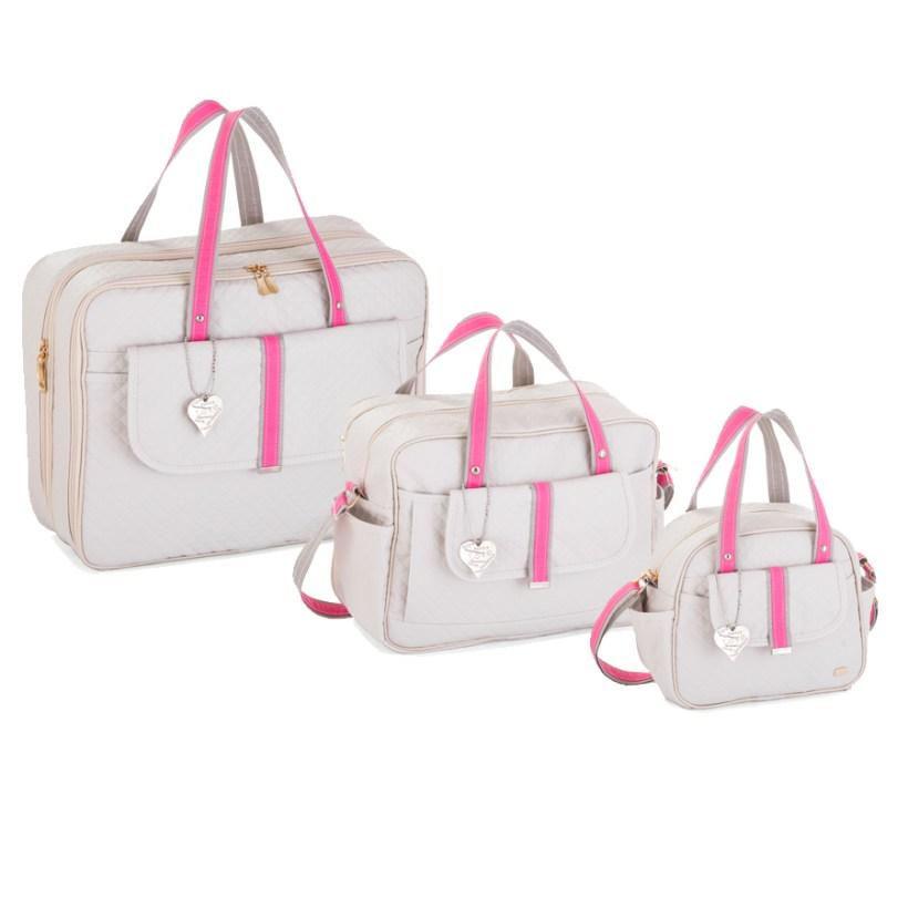 Kit Maternidade Soft Gray/Pink com 3 Peças
