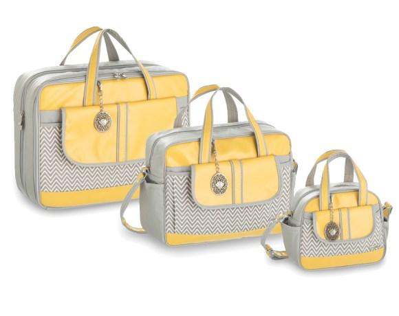 Kit Maternidade Chevron Amarelo com 3 Peças