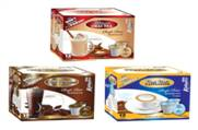 Single serve beverage cups (Cappuccino, hot chocolate, and chai tea) for k-cup brewers, Corim Industries