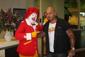 "Food Network star Vic ""Vegas"" with Ronald McDonald"