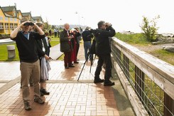Northwest Wine Encounter - Guests birdwatching at Semiahmoo Resort with resident birding expert