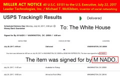 Michael T. McKibben. (Jul. 28, 2017). Miller Act Notice USPS Tracking Results for EL 028735568 US signed by M NADO 4:09am EDT.