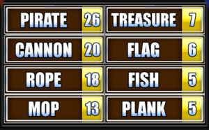 Pirate, Cannon, Rope, Mop, Treasure, Flag, Fish, Plank