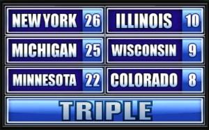 New York, Michigan, Minnesota, Illinois, Wisconsin, Colorado