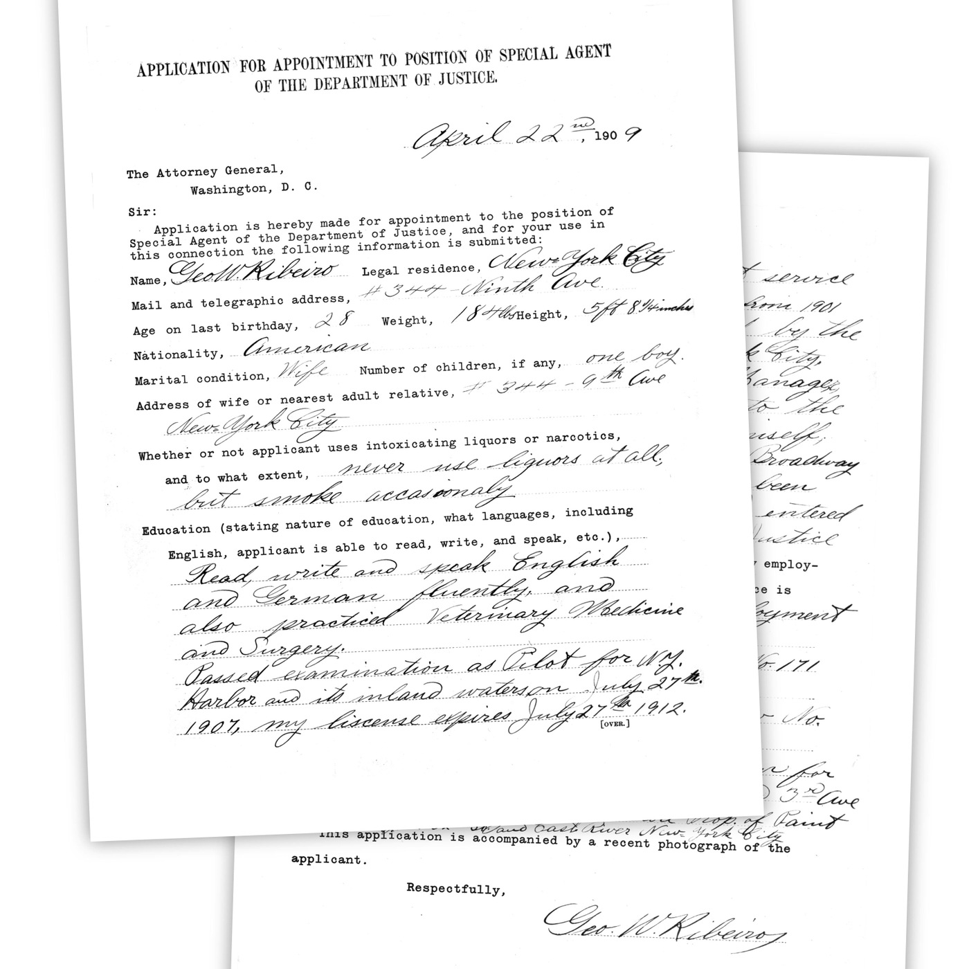 Earliest Application For Special Agent Position In The Department Of  Justice In 1909.