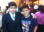 Carlos and his visitor, Juan (suit & tie)