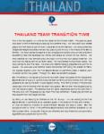 Team Thailand Update:  Transition Time