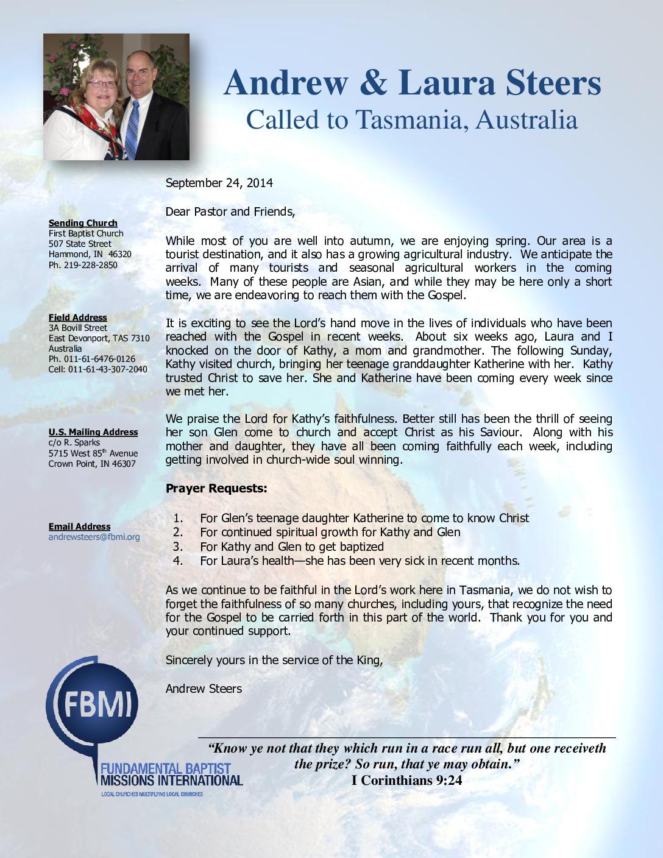 thumbnail of Andrew Steers September 2014 Prayer Letter