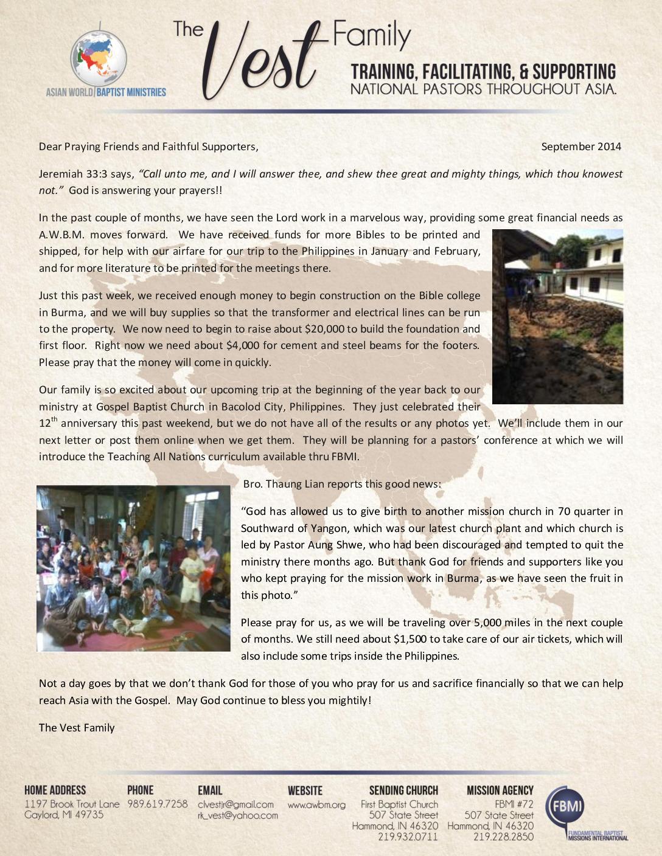 thumbnail of Charlie Vest September 2014 Prayer Letter