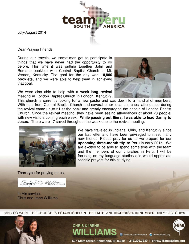 thumbnail of Chris Williams Jul-Aug 2014 Prayer Letter