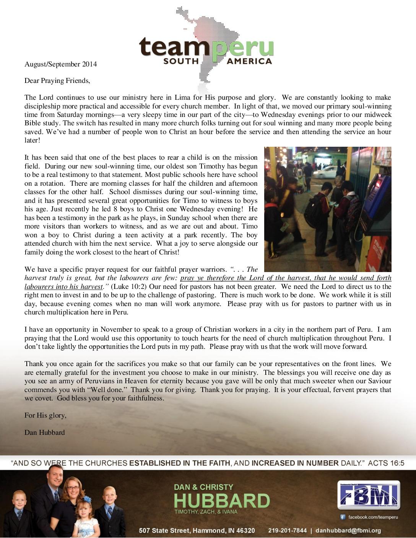 thumbnail of Dan Hubbard Aug-Sep 2014 Prayer Letter on Letterhead