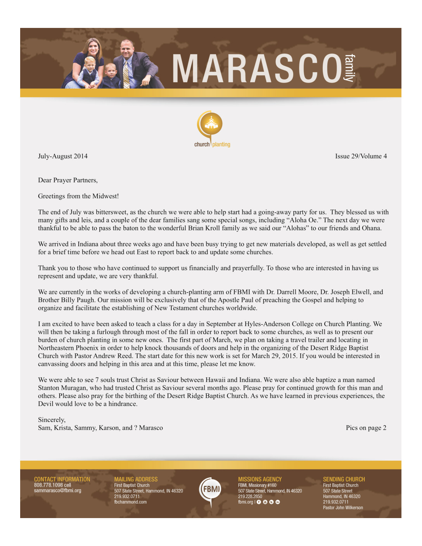 thumbnail of Sam Marasco Jul-Aug 2014 Prayer Letter-Pg1