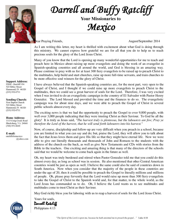 thumbnail of Darrell Ratcliff Aug-Sep 2014 Prayer Letter