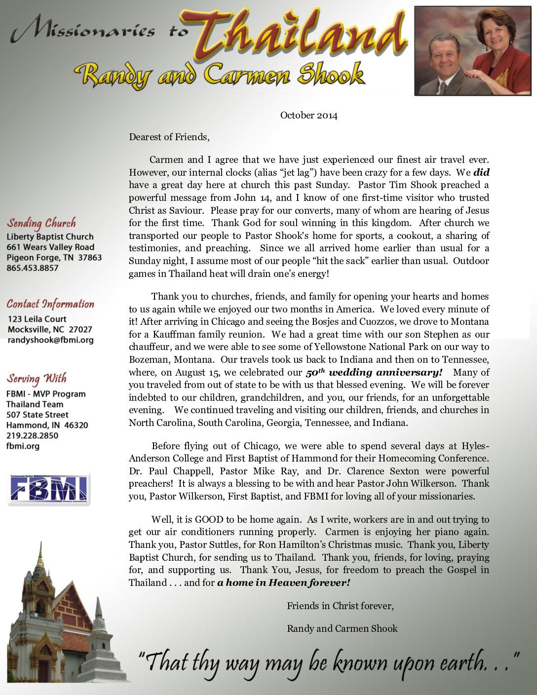 thumbnail of Randy Shook October 2014 Prayer Letter