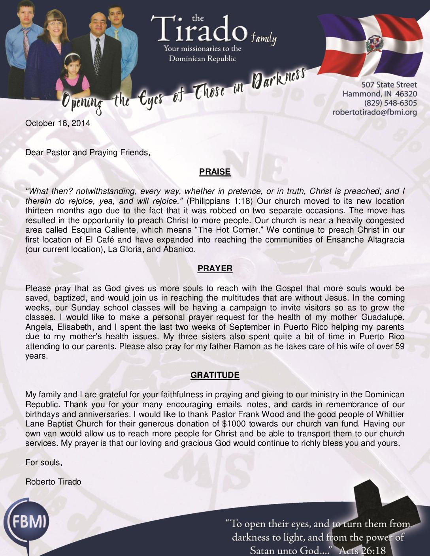 thumbnail of Robert Tirado October 2014 Prayer Letter
