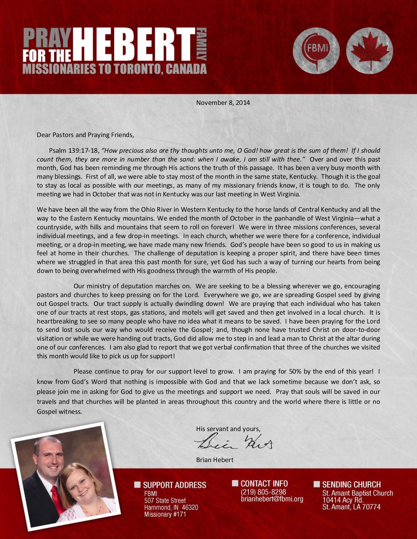 thumbnail of Brian Hebert November 2014 Prayer Letter