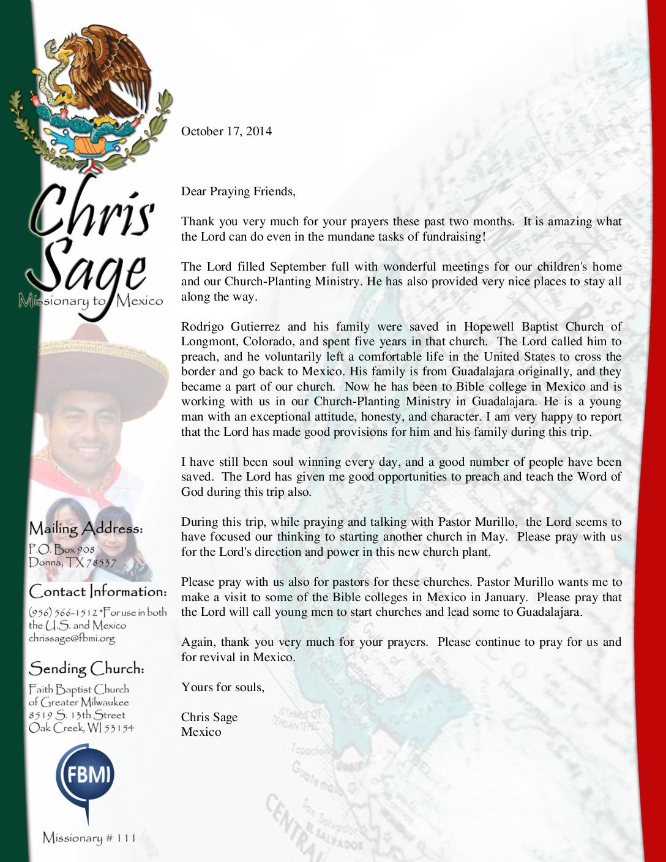 thumbnail of Chris Sage October 2014 Prayer Letter