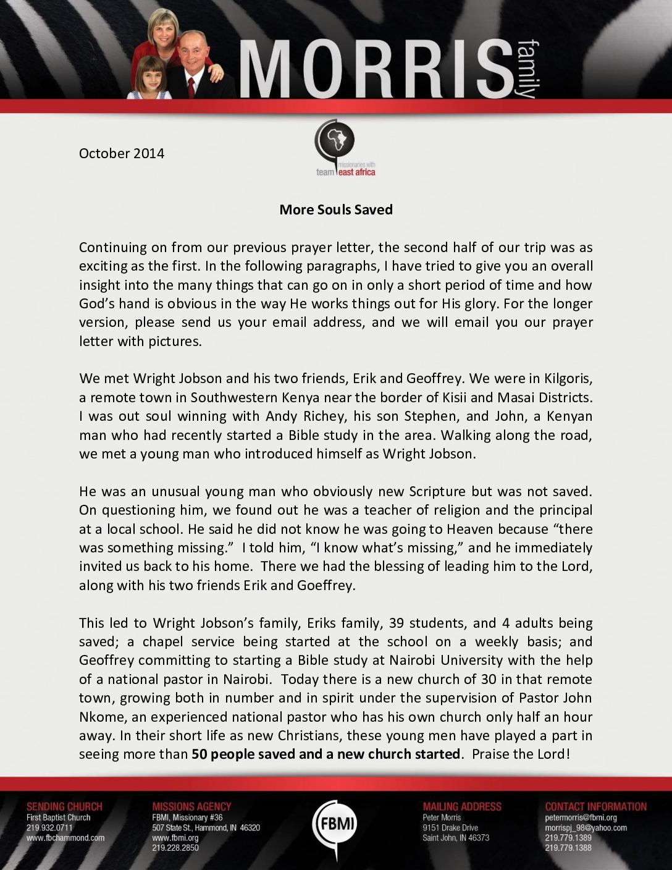 thumbnail of Peter Morris October 2014 Prayer Letter