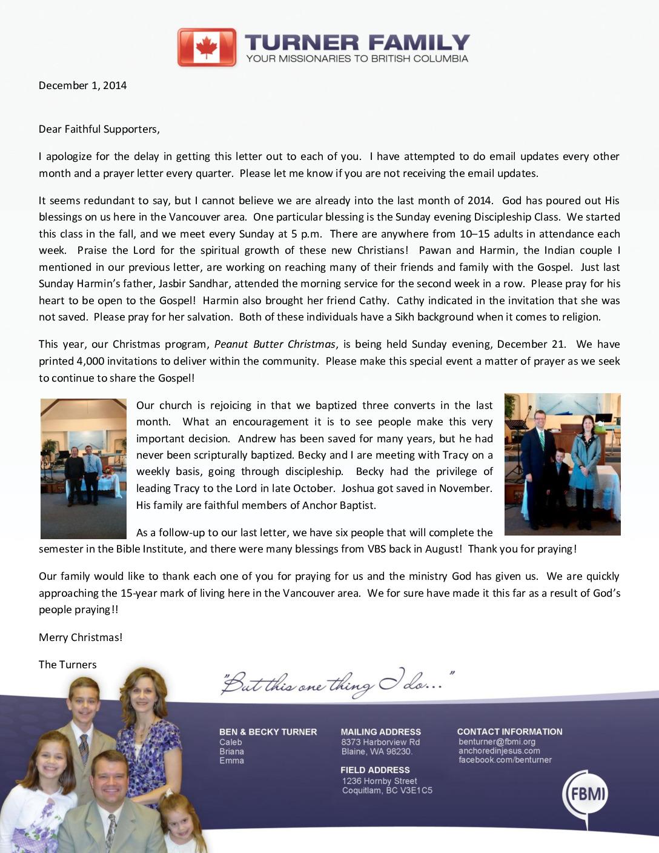 thumbnail of Ben Turner December 2014 Prayer Letter